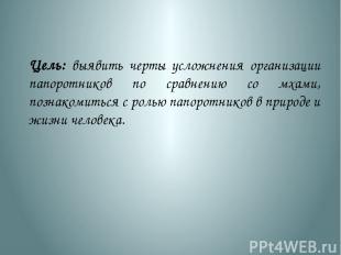 Цель: выявить черты усложнения организации папоротников по сравнению со мхами, п