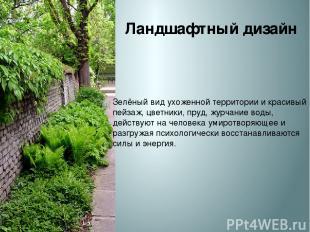 Ландшафтный дизайн Зелёный вид ухоженной территории и красивый пейзаж, цветники,