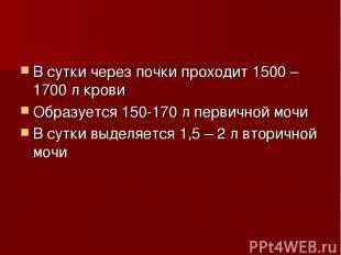 В сутки через почки проходит 1500 – 1700 л крови Образуется 150-170 л первичной