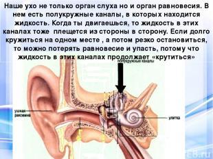 Наше ухо не только орган слуха но и орган равновесия. В нем есть полукружные кан