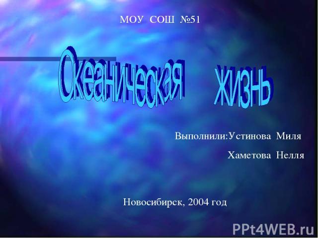 МОУ СОШ №51 Выполнили:Устинова Миля Хаметова Нелля Новосибирск, 2004 год