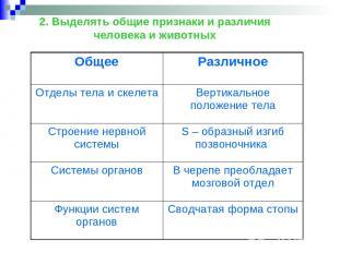 2. Выделять общие признаки и различия человека и животных Общее Различное Отделы