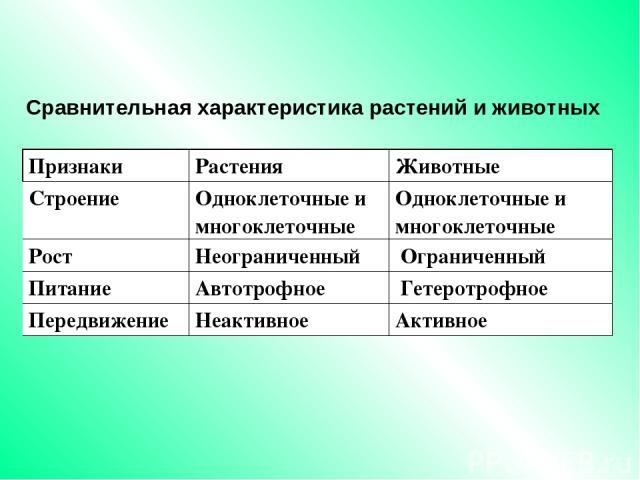 Сравнительная характеристика растений и животных Признаки Растения Животные Строение Одноклеточные и многоклеточные Одноклеточные и многоклеточные Рост Неограниченный Ограниченный Питание Автотрофное Гетеротрофное Передвижение Неактивное Активное