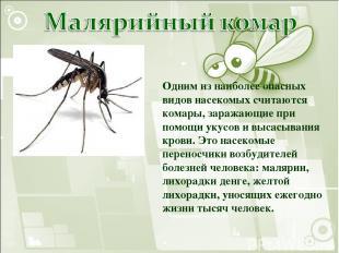 Одним из наиболее опасных видов насекомых считаются комары, заражающие при помощ