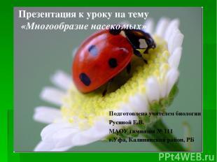 Презентация к уроку на тему «Многообразие насекомых» Подготовлена учителем биоло