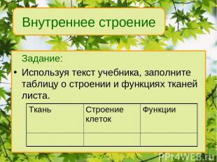 Задание: Используя текст учебника, заполните таблицу о строении и функциях ткане