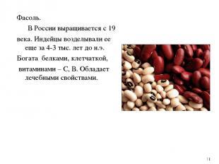 Фасоль. В России выращивается с 19 века. Индейцы возделывали ее еще за 4-3 тыс.