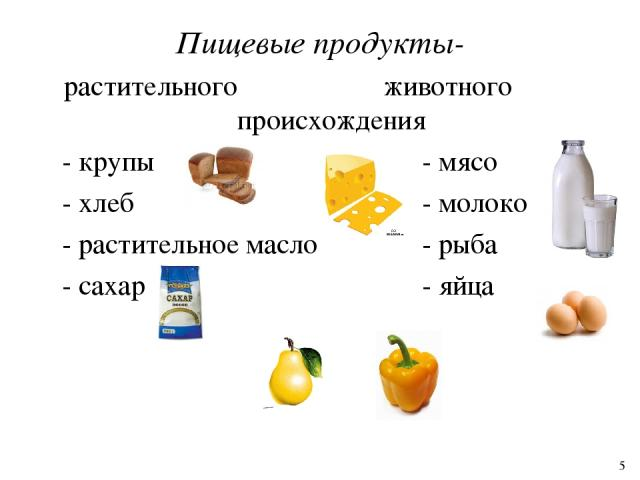 Пищевые продукты- растительного животного происхождения - крупы - мясо - хлеб - молоко - растительное масло - рыба - сахар - яйца 5