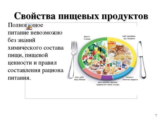 Свойства пищевых продуктов Полноценное питание невозможно без знаний химического состава пищи, пищевой ценности и правил составления рациона питания. 7