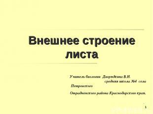 Внешнее строение листа Учитель биологии Дворядкина В.Н. средняя школа №4 села Пе