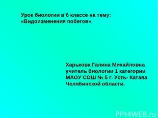 Урок биологии в 6 классе на тему: «Видоизменения побегов» Харькова Галина Михайл