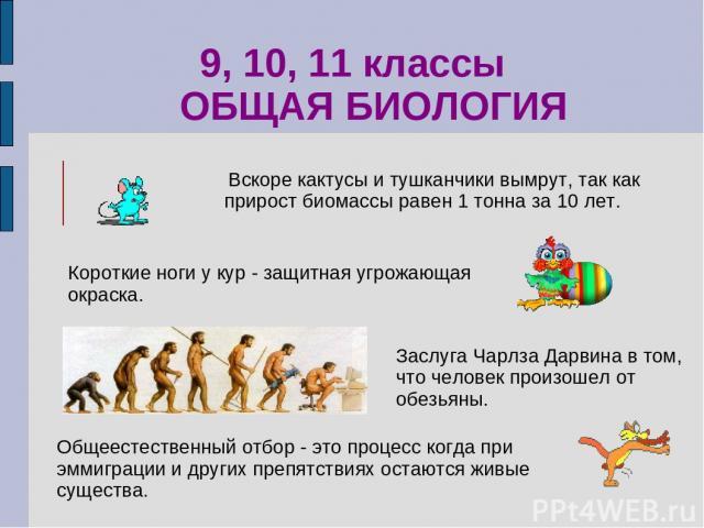 Заслуга Чарлза Дарвина в том, что человек произошел от обезьяны. 9, 10, 11 классы ОБЩАЯ БИОЛОГИЯ Вскоре кактусы и тушканчики вымрут, так как прирост биомассы равен 1 тонна за 10 лет. Короткие ноги у кур - защитная угрожающая окраска. Общеестественны…