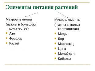 Элементы питания растений Макроэлементы (нужны в большом количестве) Азот Фосфор