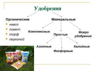 Удобрения Органические навоз помет торф перегной Минеральные Азотные Фосфорные К