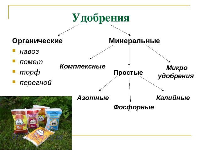 Удобрения Органические навоз помет торф перегной Минеральные Азотные Фосфорные Калийные Комплексные Микро удобрения Простые