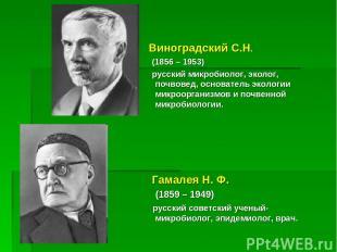 Виноградский С.Н. (1856 – 1953) русский микробиолог, эколог, почвовед, основател