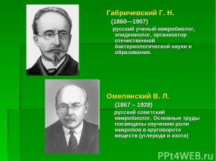 Габричевский Г. Н. (1860—1907) русский ученый-микробиолог, эпидемиолог, организ