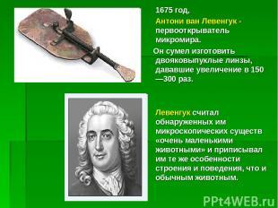 1675 год, Антони ван Левенгук - первооткрыватель микромира. Он сумел изготовить
