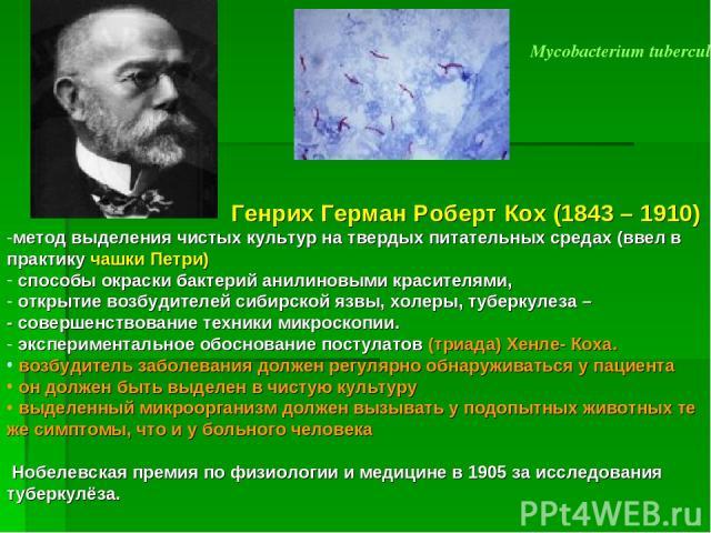 Mycobacterium tuberculosis Генрих Герман Роберт Кох (1843 – 1910) метод выделения чистых культур на твердых питательных средах (ввел в практику чашки Петри) способы окраски бактерий анилиновыми красителями, открытие возбудителей сибирской язвы, холе…