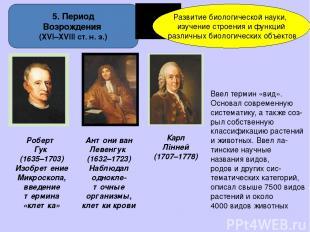 5. Период Возрождения (ХVІ–XVІІІ ст. н. э.) Развитие биологической науки, изучен