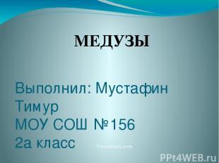 Выполнил: Мустафин Тимур МОУ СОШ №156 2а класс Екатеринбург, 2011 г МЕДУЗЫ Preze