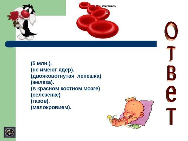 (5 млн.). (не имеют ядер). (двояковогнутая лепешка) (железа). (в красном костном мозге) (селезенке) (газов). (малокровием).