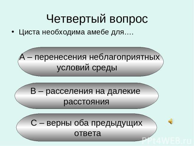 Четвертый вопрос Циста необходима амебе для…. А – перенесения неблагоприятных условий среды В – расселения на далекие расстояния С – верны оба предыдущих ответа
