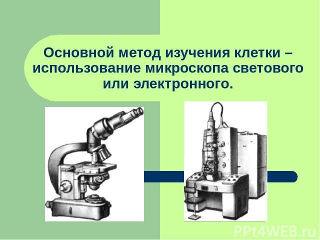 Основной метод изучения клетки – использование микроскопа светового или электронного.