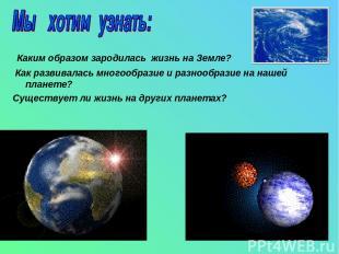 Каким образом зародилась жизнь на Земле? Как развивалась многообразие и разнообр