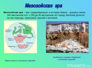 Мезозойская эра – эра «средневековья» в истории Земли – длилась около 165 миллио