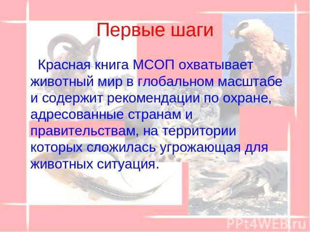 Первые шаги Красная книга МСОП охватывает животный мир в глобальном масштабе и содержит рекомендации по охране, адресованные странам и правительствам, на территории которых сложилась угрожающая для животных ситуация.