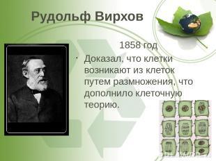 Рудольф Вирхов 1858 год Доказал, что клетки возникают из клеток путем размножени