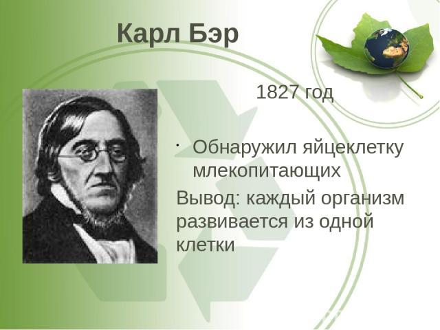 Карл Бэр 1827 год Обнаружил яйцеклетку млекопитающих Вывод: каждый организм развивается из одной клетки