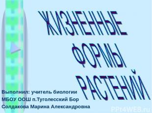 Выполнил: учитель биологии МБОУ ООШ п.Туголесский Бор Солдакова Марина Александр