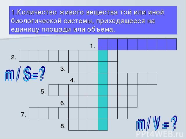 1.Количество живого вещества той или иной биологической системы, приходящееся на единицу площади или объема.