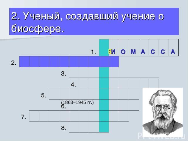 2. Ученый, создавший учение о биосфере.  (1863–1945 гг.)