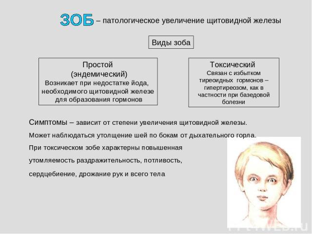 – патологическое увеличение щитовидной железы Простой (эндемический) Возникает при недостатке йода, необходимого щитовидной железе для образования гормонов Виды зоба Токсический Связан с избытком тиреоидных гормонов – гипертиреозом, как в частности …