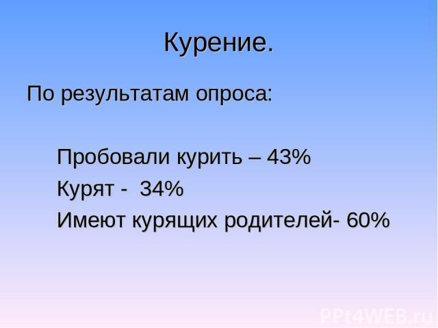Курение. По результатам опроса: Пробовали курить – 43% Курят - 34% Имеют курящих родителей- 60%