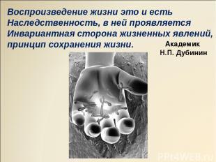 Воспроизведение жизни это и есть Наследственность, в ней проявляется Инвариантна