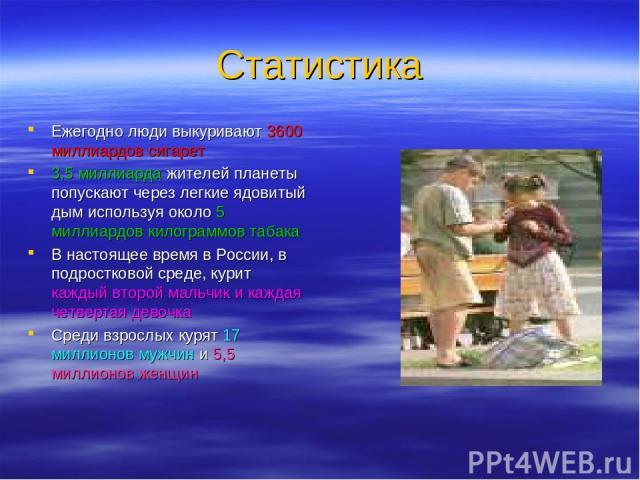 Статистика Ежегодно люди выкуривают 3600 миллиардов сигарет 3,5 миллиарда жителей планеты попускают через легкие ядовитый дым используя около 5 миллиардов килограммов табака В настоящее время в России, в подростковой среде, курит каждый второй мальч…