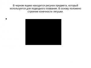 В черном ящике находится рисунок предмета, который используется для подводного п