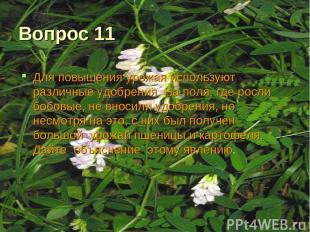 Вопрос 11 Для повышения урожая используют различные удобрения. На поля, где росл