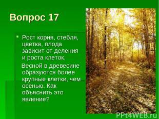 Вопрос 17 Рост корня, стебля, цветка, плода зависит от деления и роста клеток. В