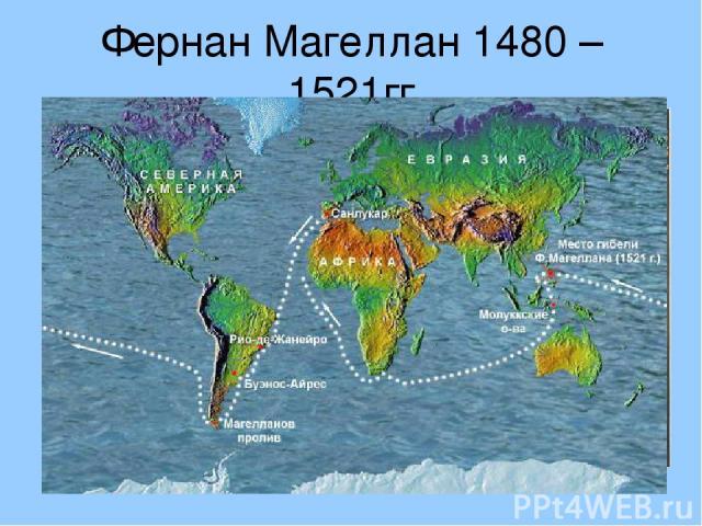 Фернан Магеллан 1480 – 1521гг Совершил кругосветное путешествие, открыл Магелланов пролив.