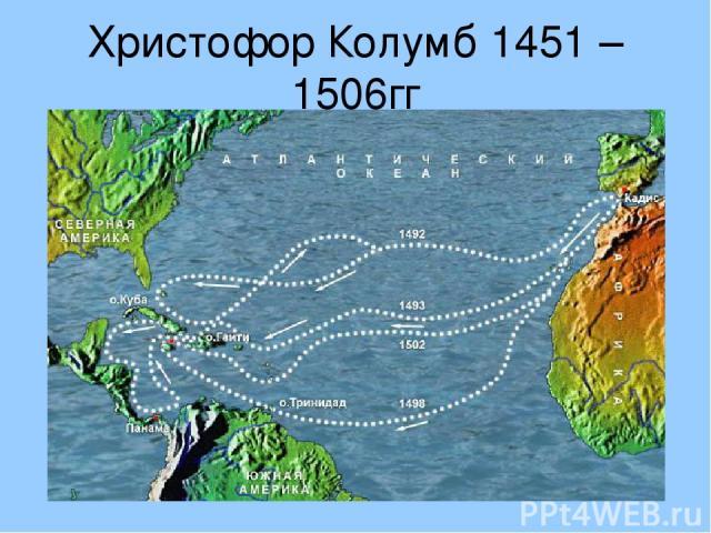Христофор Колумб 1451 – 1506гг Открыл Америку, совершив кругосветное путешествие.
