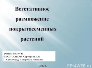 учитель биологии МБОУ СОШ №4 Сереброва Л.И. Г. Светлоград, Ставропольский край 2