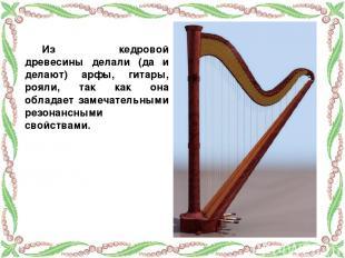Из кедровой древесины делали (да и делают) арфы, гитары, рояли, так как она обла
