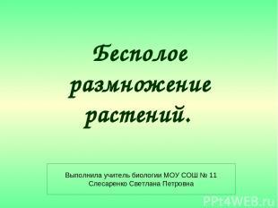 Бесполое размножение растений. Выполнила учитель биологии МОУ СОШ № 11 Слесаренк