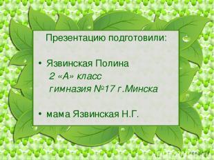 Презентацию подготовили: Язвинская Полина 2 «А» класс гимназия №17 г.Минска мама