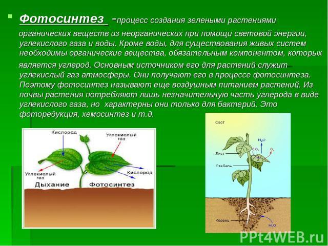 Фотосинтез -процесс создания зелеными растениями органических веществ из неорганических при помощи световой энергии, углекислого газа и воды. Кроме воды, для существования живых систем необходимы органические вещества, обязательным компонентом, кото…